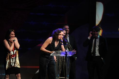 Aoibheen McCann speaks after winning the Ensemble Award. Photograph: Aidan Crawley