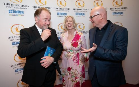 Actor Owen Roe with Irish Times marketing manager Claire Looby and Arts and Culture Editor Hugh Linehan at the Irish Theatre Awards. Photograph: Tom Honan