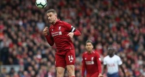 Liverpool's captain Jordan Henderson in action. Jurgen Klopp's loyalty to him tells us a couple of interesting things about the Liverpool manager's way of thinking. Photograph: Getty Images