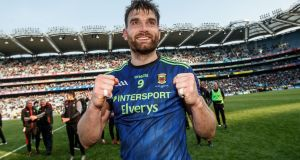 Aiden O'Shea celebrates Mayo's victory over Kerry. Photograph: James Crombie/Inpho