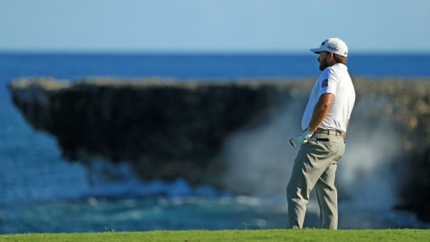 McDowell plays his approach in to the 18th on Sunday. Photo: Mike Ehrmann/Getty Images
