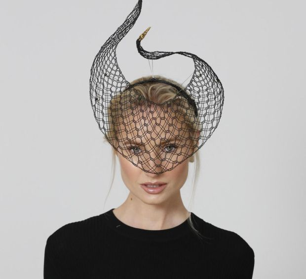 Black silk covered wire veiled headpiece €595 by Leonora Ferguson.