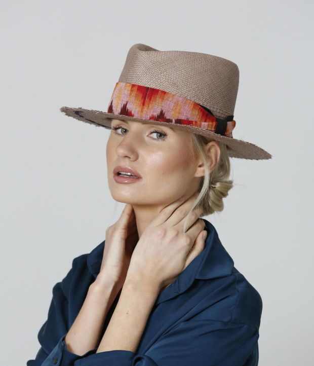 Mocha panama with handwoven ikat trim by FAO Millinery €235