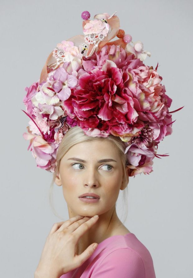 Hydrangea hat with quills, beading and birdcage veiling by Deb Fanning €445.