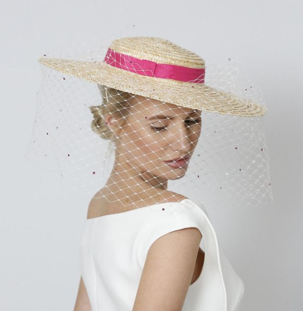 Straw boater with beekeeper veil and crystal embellishment by Aoife Harrison €300.