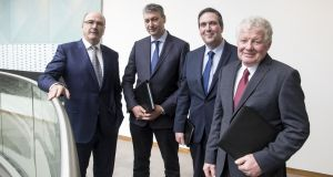 Michael Hanley, group CEO; Alan McCay, vice-chairman; Colin Kelso, vice-Chairman and Alo Duffy, chairman of Lakeland Dairies.  Co-operatives Lakeland Dairies and Lacpatrick formally merged on Monday creating a business with sales of more than €1 billion a-year.