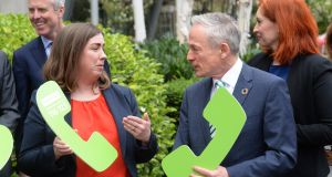 Minister for Communications Richard Bruton  launched Samaritans Ireland's five-year statistics for its 116 123 freephone number pictured with Eleanor Farrell, Samaritans Ireland Trustee. Photograph: Dara Mac Dónaill