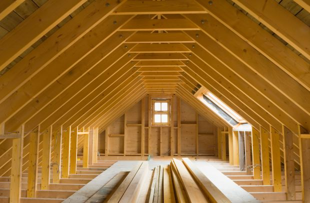 Attic space in a newly built house, ready for conversion. Photograph: Getty