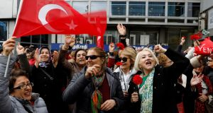 Supporters of Republican People's Party (CHP) celebrate on a main square in Ankara, Turkey.  Photograph: Umit Bektas/Reuters