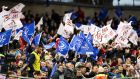 Leinster and Ulster fans show their colours during the Champions Cup quarter-final at the Aviva. Photograph: Billy Stickland/Inpho