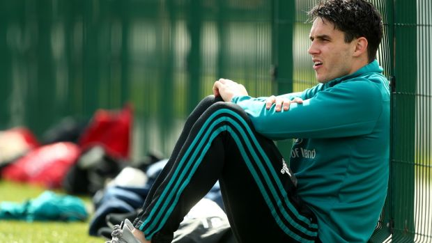 Joey Carbery sits out Munster Rugby Training in UL, Limerick on Monday. Photograph: James Crombie/Inpho