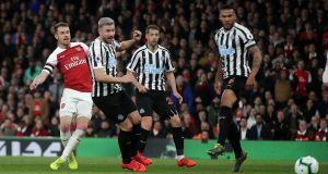 Aaron Ramsey scores Arsenal's opener against Newcastle. Photograph: Adam Davy/PA