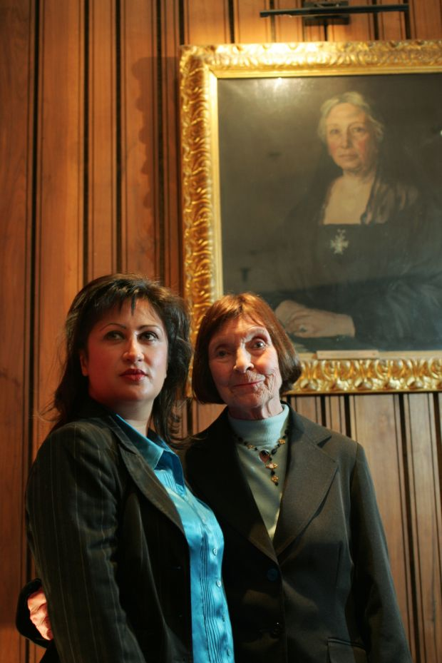 Melissa Sihra, left, and Phyllis Ryan, actor, producer and director, at the Abbey Theatre in Dublin in 2007, with a portrait of Lady Gregory by Gerald F Kelly in the background. Photograph: Frank Miller