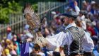 Medieval falconry display at Puy du Fou