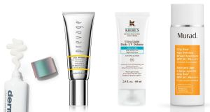 Facial suncreens: Dermalogica Prisma Protect SPF30, Elizabeth Arden Prevage City Smart SPF50 Hydrating Shield,Kiehls Ultra Light Daily UV Defense SPF50 and Murad City Skin Broad Spectrum SPF50 Mineral Sunscreen