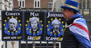 "An anti-Brexit campaigner in Westminster on Tuesday. ""it is hard not to think that our political leaders are choosing to interpret Brexit as an excuse not to invest in the common good."" Photograph: Andy Rain/EPA"