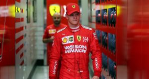 Mick Schumacher walks out of the Ferrari  garage during testing at the Bahrain International Circuit.  Photograph: Hamad I Mohammed/Reuters