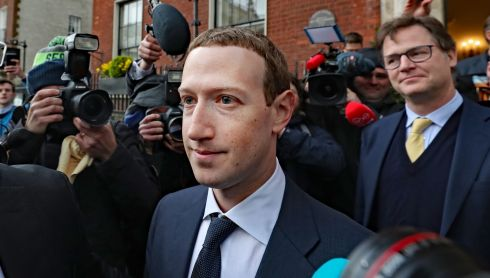 SOCIAL MEDIA REGULATION: Facebook chief executive Mark Zuckerberg leaving the Merrion Hotel in Dublin with the network's head of global policy and communications, Nick Clegg, after a meeting with politicians to discuss regulation of social media and harmful content. Photograph: Niall Carson/PA Wire