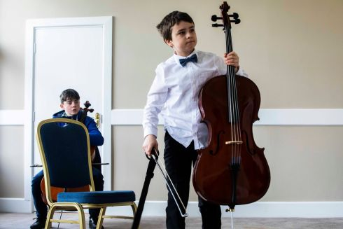BULL FIDDLE: Adam Joyce at Junior Cello rehearsals for the Feis Ceoil at the RDS, Dublin. Photograph: Clare Keogh