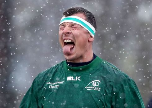 ICY TONGUE: Robin Copeland gets a feel for the cold during Connacht rugby squad training at the Sportsground in Galway. Photograph: Bryan Keane/Inpho