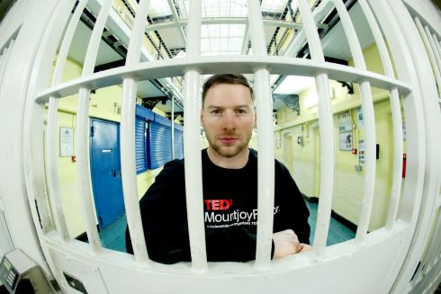 TEDx MOUNTJOY: Philly McMahon, Dublin GAA footballer, takes part in TEDxMountjoyPrison, the first TEDx event in an Irish prison. The event focused on supports needed to ensure ex-offenders reintegrate successfully into society after release. Photograph: Maxwells