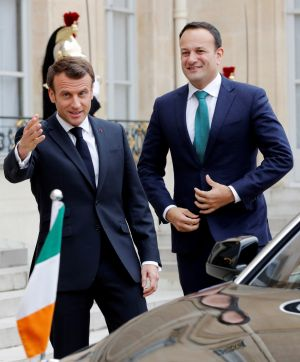 AT THE PALACE: French president Emmanuel Macron welcomes Taoiseach Leo Varadkar at the Elysee Palace in Paris, France, for talks, chiefly regarding Brexit. Photograph: Philippe Wojazer/Reuters