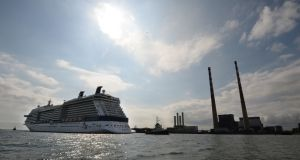 The Celebrity Eclipse cruise ship arrives into Dublin Port last year. The Dublin Port Company has been criticised by tourism interests for announcing plans to cut by 50 per cent the number of cruise ships docking in Dublin over the coming years. Photograph: Dara Mac Donaill/The Irish Times.