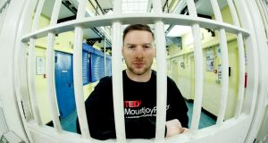 Dublin footballer Philly McMahon at Mountjoy Prison, where he delivered a TEDx talk to about 100 guests and inmates in the prison's chapel on Tuesday. Photograph: Maxwell