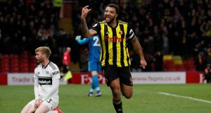 Watford's Troy Deeney celebrates scoring their third goal during the Premier League game against Fulham at Vicarage Road. Photograph: David Klein/Reuters