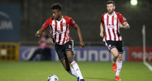 Junior Ogedi-Uzokwe opened the scoring  for Derry City in the EA Sports Cup tie  against Longford Town at the Brandywell. Photograph: Ryan Byrne/Inpho
