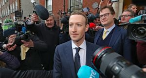 Facebook chief Mark Zuckerberg leaving the Merrion Hotel in Dublin on Tuesday. Photograph: Niall Carson/PA Wire