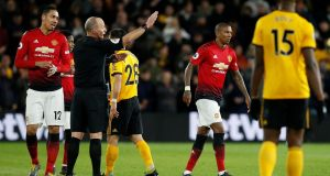 Ashley Young was sent off during Manchester United's defeat to Wolves. Photograph: Andrew Yates/Reuters