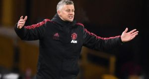 Ole Gunnar Solskjaer during Manchester United's defeat to Wolverhampton Wanderers. Photograph: Michael Regan/Getty