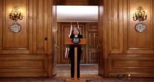 Britain's Prime Minister Theresa May gives a statement inside 10 Downing Street in London on April 2, 2019 after chairing a day-long meeting of the cabinet. - Britain will seek a further delay to Brexit to allow more time for parliament to pass the deal agreed with the European Union. JACK TAYLOR/AFP/Getty Images