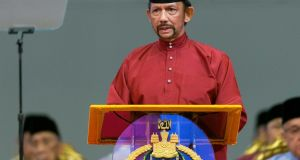 Sultan of Brunei Hassanal Bolkiah speaks at the International Convention Centre to celebrate the Islamic event Isra Mi'raj, in Bandar Seri Begawan, Brunei, on Wednesday. Photograph: EPA