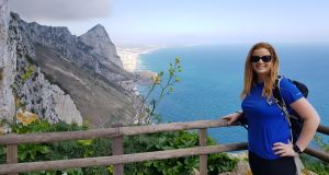 Rachel Flaherty hiking up to the top of the Rock of Gibraltar during her military fitness bootcamp.