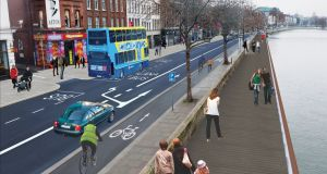Part of the proposed new cycle route along the Liffey at Aston Quay in Dublin.