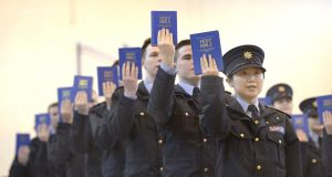 Garda reservists being sworn in in Templemore in 2013. Reserve policing is commonplace in Europe, across the Atlantic and in the United Kingdom. File photograph: Brenda Fitzsimons