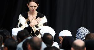 New Zealand's Prime Minister Jacinda Arden gestures to relatives of victims of the mosque attacks during the national remembrance service, at Hagley Park in Christchurch, last week. Photograph: Edgar Su/Reuters