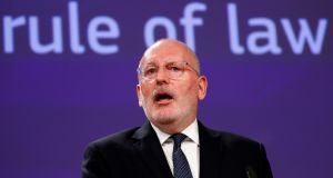 "European Commission vice-president Frans Timmermans: EU must strengthen its ""toolbox for tackling the erosion in member states of the rule of law"".  Photograph: Francois Lenoir"