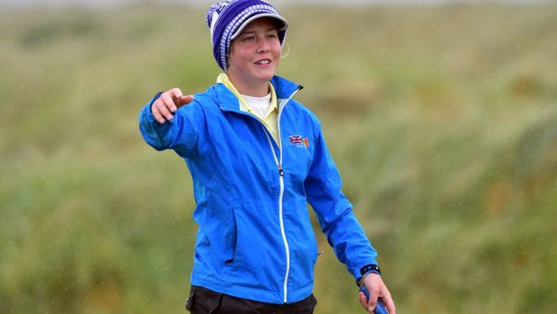 Byrne after holing the winning putt on the 17th green in the final of the 2018 Irish Women's Close. Photo: Pat Cashman
