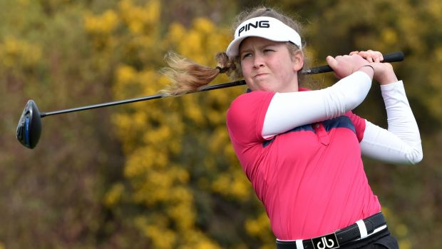 Byrne driving at the 13th tee in the final round of the 2017 Irish Girl's Open Strokeplay Championship at Roganstown. Photo: Pat Cashman