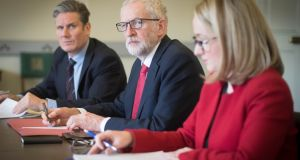 Labour leader Jeremy Corbyn (C), shadow Brexit secretary Keir Starmer and shadow business secretary Rebecca Long-Bailey  in the Houses of Parliament in London preparing for a meeting with prime minister Theresa May. Photograph: Stefan Rousseau/PA Wire