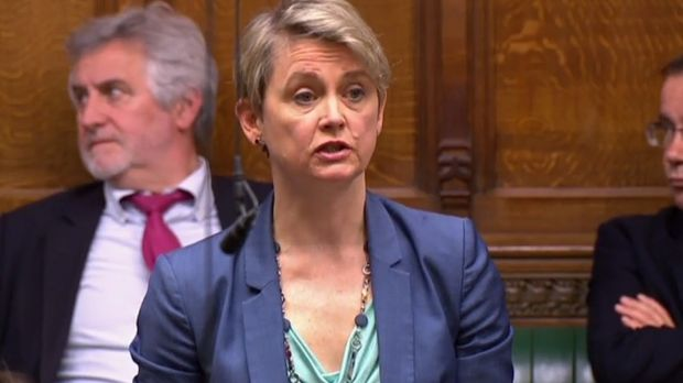 A videograb from footage broadcast by the UK's Parliamentary Recording Unit shows Labour MP Yvette Cooper speaking in the House of Commons in London, Britain. Photograph via AFP/Getty Images