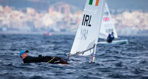 Ireland's Ewan McMahon competing in the Laser Gold fleet on Wednesday, Day 3 of the Princess Sofia/Palma Olympic Classes Regatta 2019 in Mallorca. Photograph: David Branigan/Oceansport