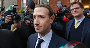 Facebook founder Mark Zuckerberg in Dublin on April 2nd. Photograph: Niall Carson/PA Wire