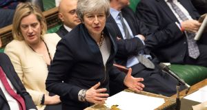Britain's prime minister Theresa May in the House of Commons. A Downing Street spokesman said the prime minister held constructive talks with Labour leader Jeremy Corbyn on Wednesday. Photograph: Mark Duffy/UK Parliament/AFP