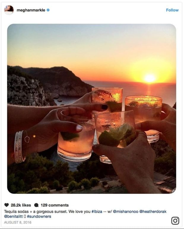 "Meghan Markle: the duchess has closed her personal Instagram account, which included the post ""Tequila sodas + gorgeous sunset. We love you #Ibiza"""
