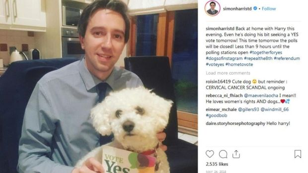 Instagram: one of Simon Harris's posts, from during the Repeal the Eighth campaign
