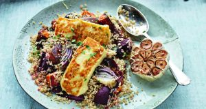 Halloumi and garlic-dressed vegetables with quinoa. Photograph: Joanne Murphy